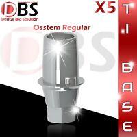 5X Dental Implant Ti-Base For Osstem / Hiossen For Regular Platform With Hex