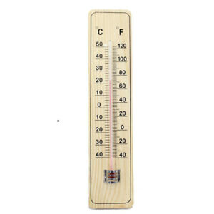 Wooden Hanging Thermometer Indoor Outdoor Glass Home Garden Garage Wall Scale