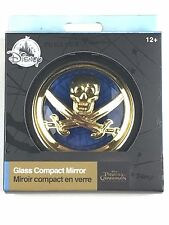 Disney Store Pirates of the Caribbean Compact Mirror Gold Blue Glass Skull