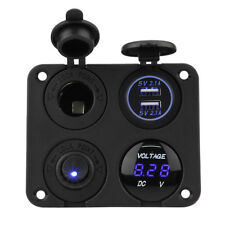 4Gang USB Waterproof Blue LED Toggle Switch Panel Car Marine Boat Rocker 12V/24V