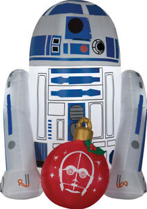 CHRISTMAS SANTA STAR WARS R2D2 WITH ORNAMENT  AIRBLOWN INFLATABLE 3.5 FEET
