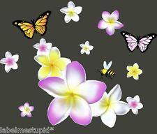 16cm Corner Frangipani Flower Car Stickers Pink White Yellow Plumeria Hawiian