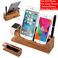 Bamboo Charging Dock Station Charger Stand Holder Fr Apple Watch iWatch iPhone X