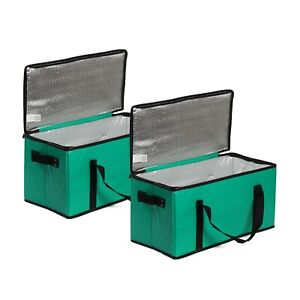 Insulated Food Delivery Grocery Bag Collapsible Extra Large  Zipper Lid (2 Pack)