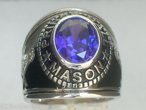 Prince Hall Mason Masonic February Amethyst CZ Stone Rhodium Men Ring Size 12