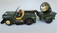 U.S. ARMY JEEP WITH DRIVER & SEARCH LIGHT TIN LITHOGRAPHED BATTERY OPERATED  TOY