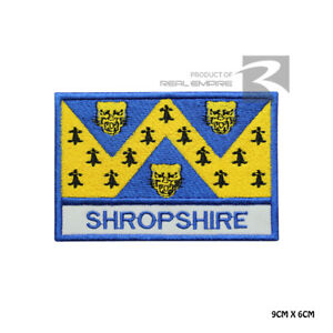 SHROPSHIRE County Flag with name Iron On Sew On Embroidered Patch Badge