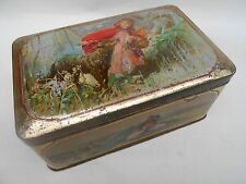 Antique ** MAZAWATTEE TEA ** Tin Nursery Rhyme LITTLE RED RIDING HOOD c.1900