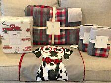 Pottery Barn Kids Plaid Patchwork Full Quilt Sham Firetruck Sheet Set Dog Pillow