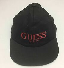 Vintage Guess USA Black Baseball Cap Hat Snapback 90s