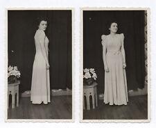 Lot 2 PHOTOS Femme Profil Vintage Robe Mode Vers 1950 Photographie ancienne