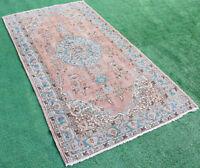 Turkish Rug 47''x86'' Vintage Light Muted Color Oushak Wool Carpet 120x220cm