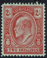 TURKS ISLANDS 1909 KEVII CACTUS 2/-