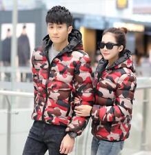 Mens women Camo Lightweight cotton Down Coat Padded winter Puffer hooded Jacket