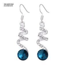 Boucles d'oreilles bijouterie spirale perles bleue et Swarovski® Elements