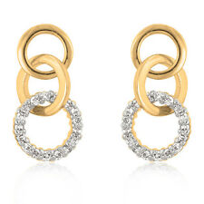 Silver Gold Hoop Earrings CZ Accents