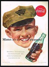 1950s BIG Original Vintage Coca-Cola Western Union Man Hat Uniform Art Print Ad