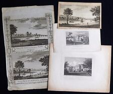 ROEHAMPTON LONDON / SURREY HOUSE PRIORY 4 x GEORGIAN & VICTORIAN ANTIQUE PRINTS