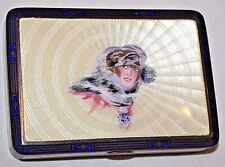 Antique Sterling Silver & Guilloche Enamel Portrait of a Lady Hallmarked Box