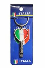 """ITALIA ITALY Country Flag HEART Shape Metal Keychain & WHISTLE..Size : 1.25"""" x 2"""