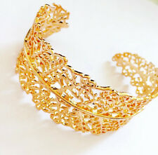 Stella & Dot Cuff Bracelet Gold Plated Lace Leaf Classic Grace Design NEW