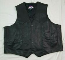 Jim Leather Inc Mens Black Leather Vest 4XL Big Tall Motorcycle Waistcoat