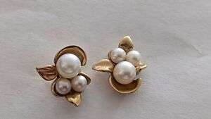 Antique 14K Solid Rose Y Gold Pearl Earrings, p14