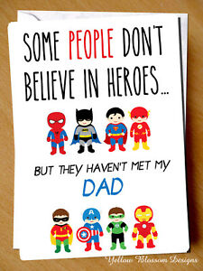 Father's Day Christmas Dad Card Superhero Birthday Daddy Son Daughter HERO Cute