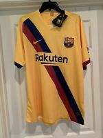 FC Barcelona Away Nike Lionel Messi Jersey 2019 2020 Mens 2XL Yellow Soccer