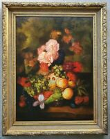 Vintage Fruit & Flowers Still Life Art LARGE Original Oil Painting in Gilt Frame
