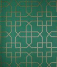 Rolls Sanderson Siam Trellis Green & Gold Geometric Wallpaper Price Per Roll