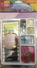 Sewing Crafts Kit Spool Thread Needle Buttons Studs Safety Pins Hair Bubbles New