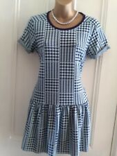 Ladies,size 6.TopshopBlack,turquoise check stretch dress.Drop waist.Short sleeve