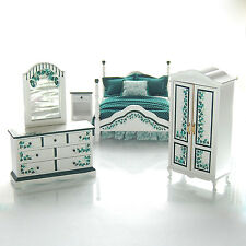 ELEGANT IVY Bedroom Set 1:12 Dollhouse Miniature Artisan Painted Furniture
