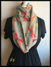 Green SCARF Dragonfly Infinity Endless Shawl Hippy Jersey Fabric Hippy Hipster