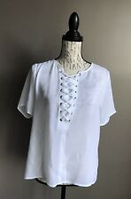 Michael Kors Women's White Lace Up Top Blouse Short Sleeve Small New $150
