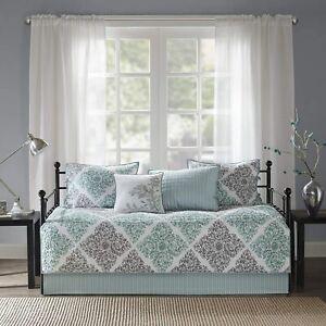 Madison Park Claire Daybed Size Quilt Bedding Set - Aqua, Grey , Leaf Geometric