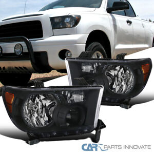 For 07-13 Toyota Tundra 08-17 Sequoia Replacement Black Headlights Head Lamps