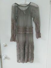 Pretty Lace Long Sleeve Dress SzL Dk Taupe Sheer Lace Crochet Trim at Waistline