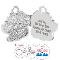 Bling Glitter Paw Print Custom Dog Tag Engraved Cat Name Phone ID Tag Silver
