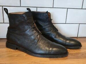 Oliver Sweeney black lace up combat boots size 9.5 Cagnano leather textured