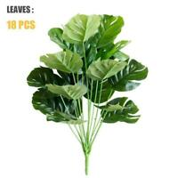 50CM18Heads Fake  Home Decora Artificial Green Leaves Monstera Y2T4