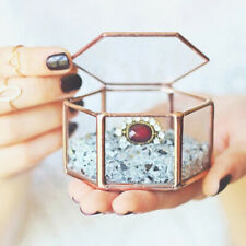 Mini Hexagonal Clear Glass Jewelry Box Storage for Necklace Earrings Rings