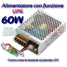 Alimentatore UPS buffer 13,8V 60W 5A con LED backup gruppo continuità 12V DC