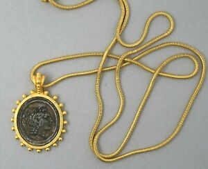Linda Levinson Ancient Coin Costume Necklace Signed