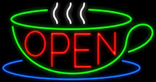 "New Open Coffee Cafe Tea Cup Food Shop Beer Bar Neon Light Sign 24""x20"""