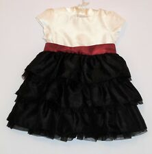 "Gymboree ""Merry Occasions"" Ivory Red Black Tiered Ruffled Holiday Dress, 6-12 mo"