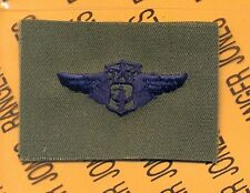 USAF Chief Flight Nurse Qualification wing badge OD Green & Blue patch 2 1/4""
