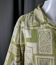 Aloha Hawaiian Shirt Green Cream Batik Print Island Republic