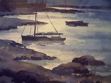 JOHN HALE BRITISH 1864-1955 SIGNED MOONLIT INLET WATERCOLOR ORIG FRAME CA 1930